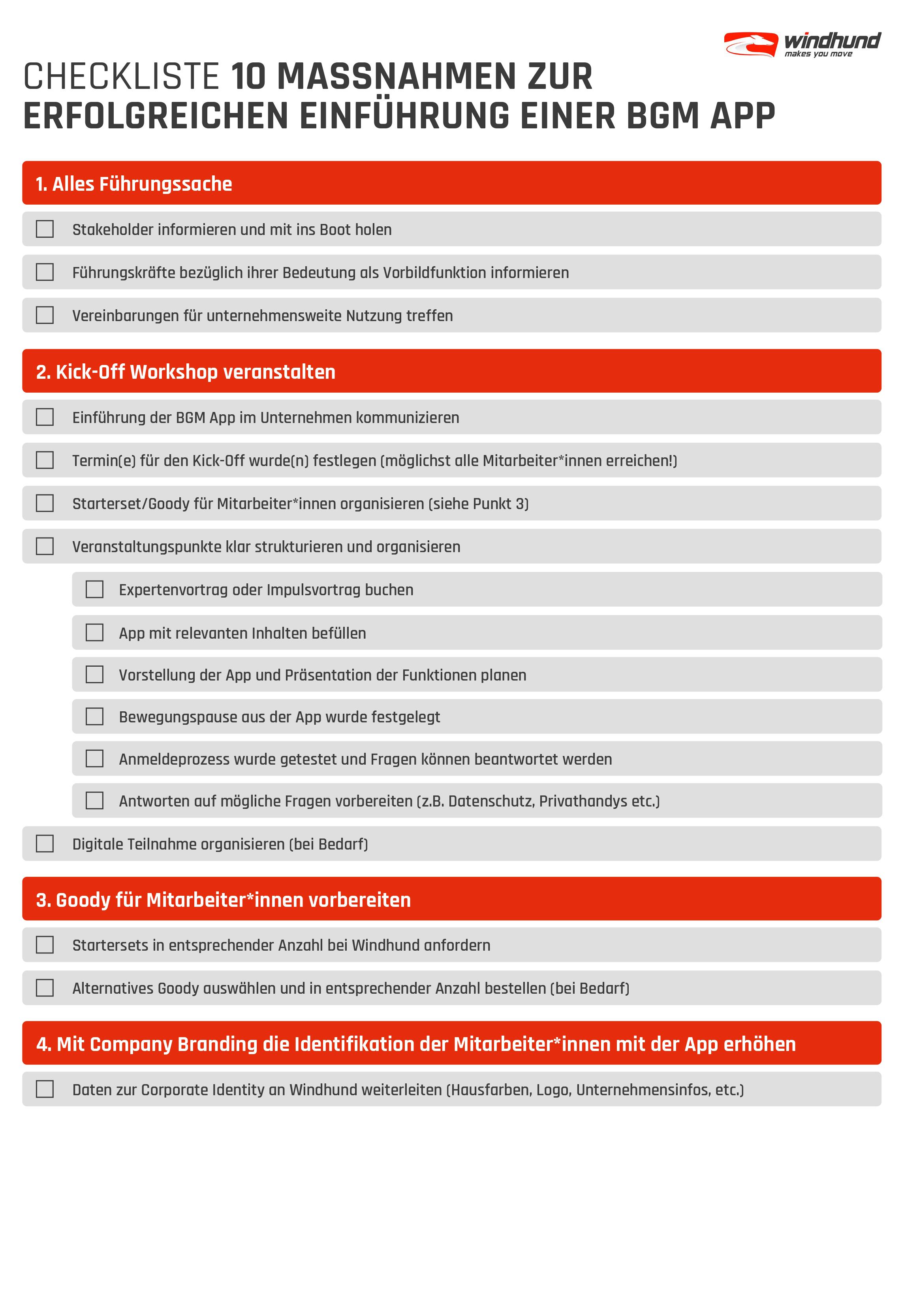 Windhund Checkliste für erfolgreiche Einführung digitaler BGM Tools